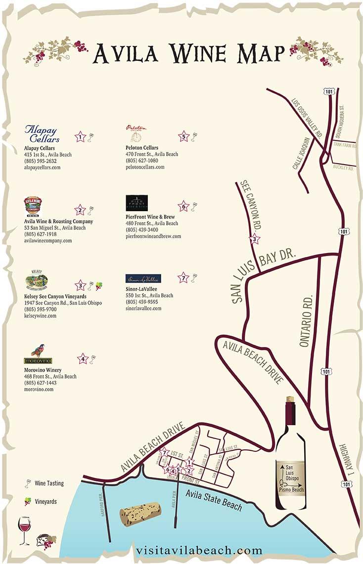 Avila Beach Wine Map